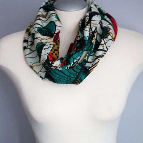 Leaf Patterned Infinity Scarf