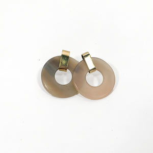 Horn Round Earrings