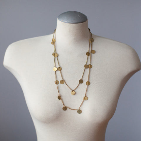 Long Brass Coin Necklace