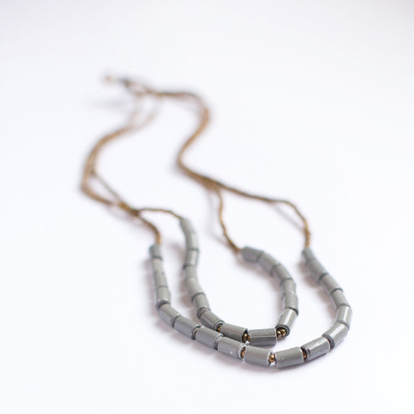 Grey Double Strand Necklace