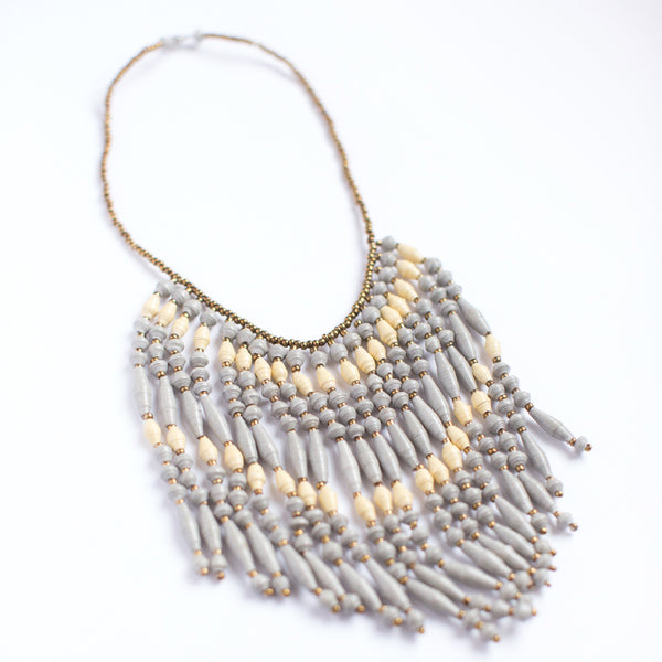 Grey Paper Bead Fringe Necklace