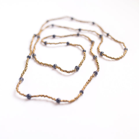 Long Dark Blue and Gold Necklace