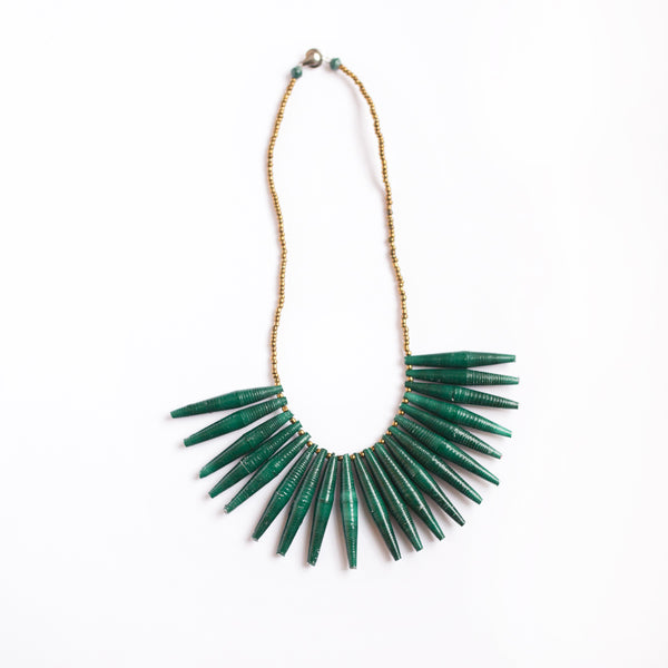 Green Fringe Paper Bead Necklace