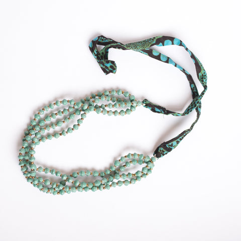 Teal Necklace with fabric tie