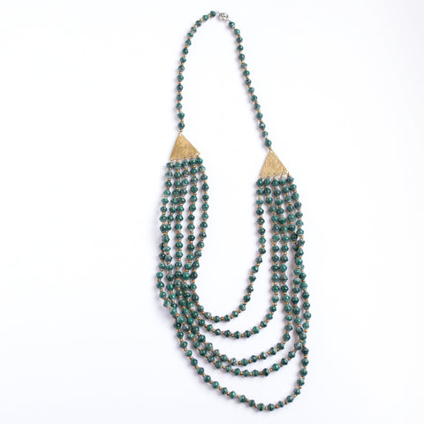 Green Brass and Paper Bead Necklace