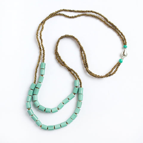 Teal Double Strand Necklace