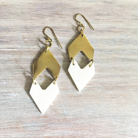 White and Brass Chevron Earrings