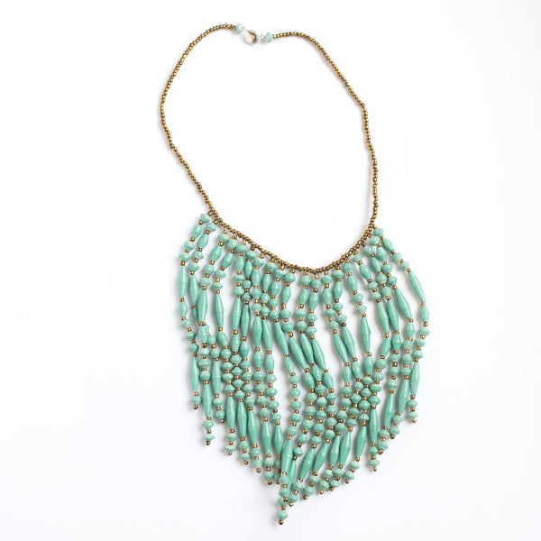 Teal Paper Bead Fringe Necklace
