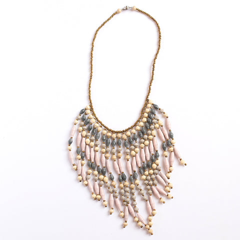 Pink and Dark Grey Paper Bead Fringe Necklace