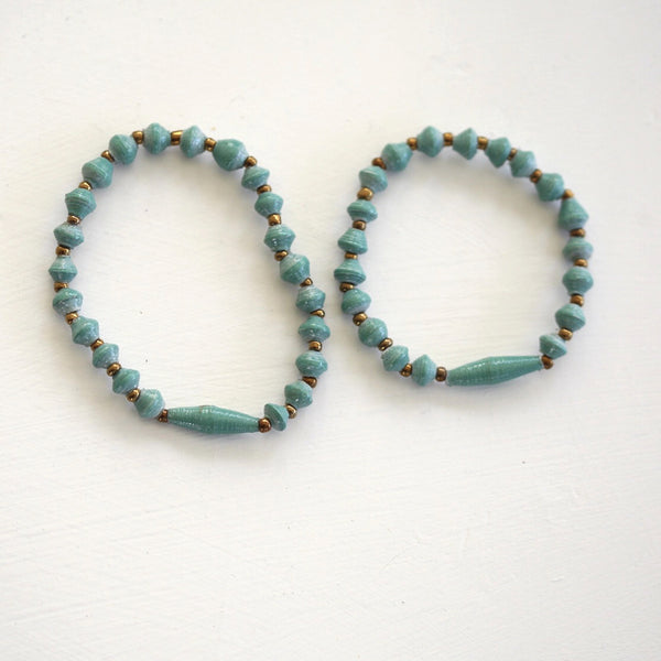 Paper Bead Adult/Child Bracelet Set - various colours