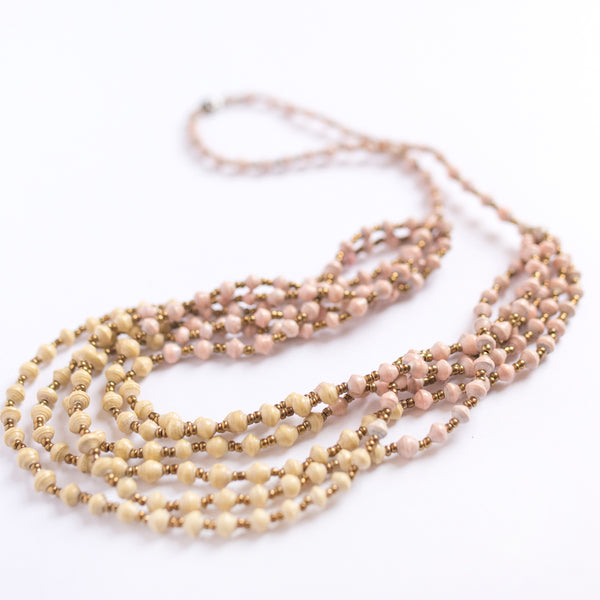 Layered Cream and Peach Necklace