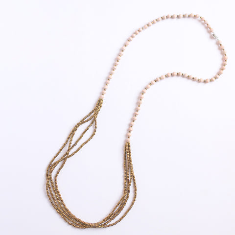 PEACH Long and Gold Necklace