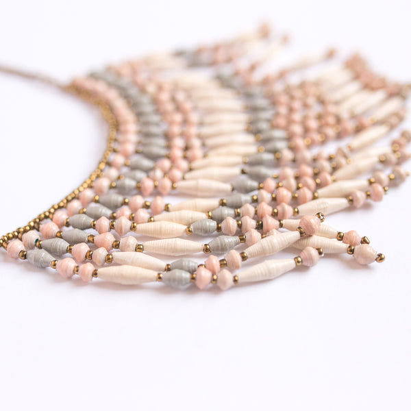 Peach and light grey  Paper Bead Fringe Necklace