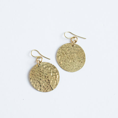 Small Hammered Brass Earrings
