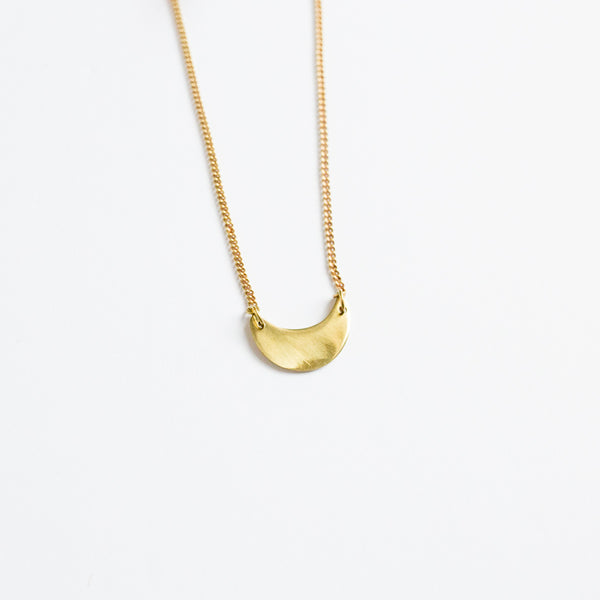 Small Brass Crescent Necklace