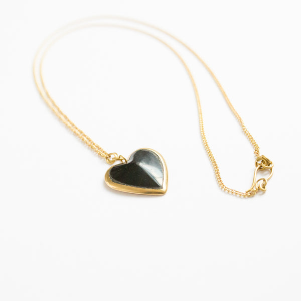 Long Black Heart Necklace