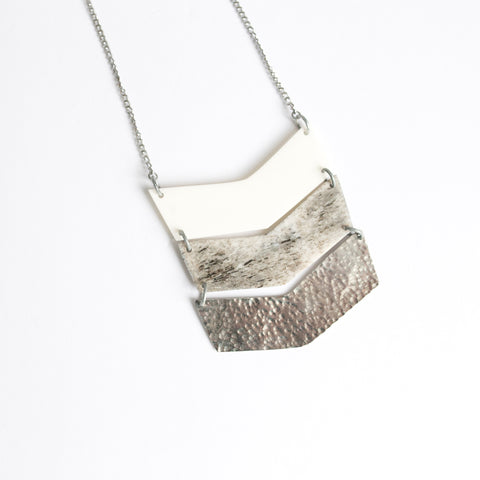 Grey Three Tone Chevron Necklace