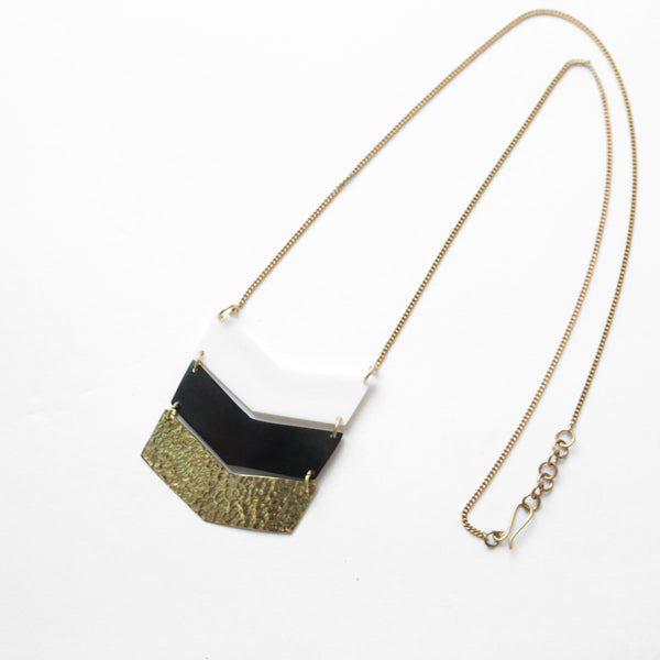 Brass Three Tone Chevron Necklace