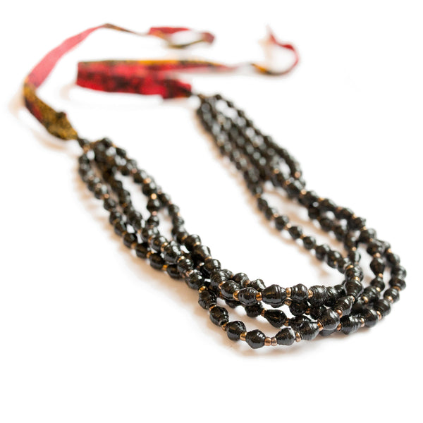 Black Necklace with fabric tie