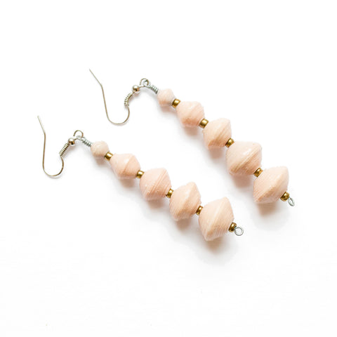 Long Peach Paper Bead Earrings