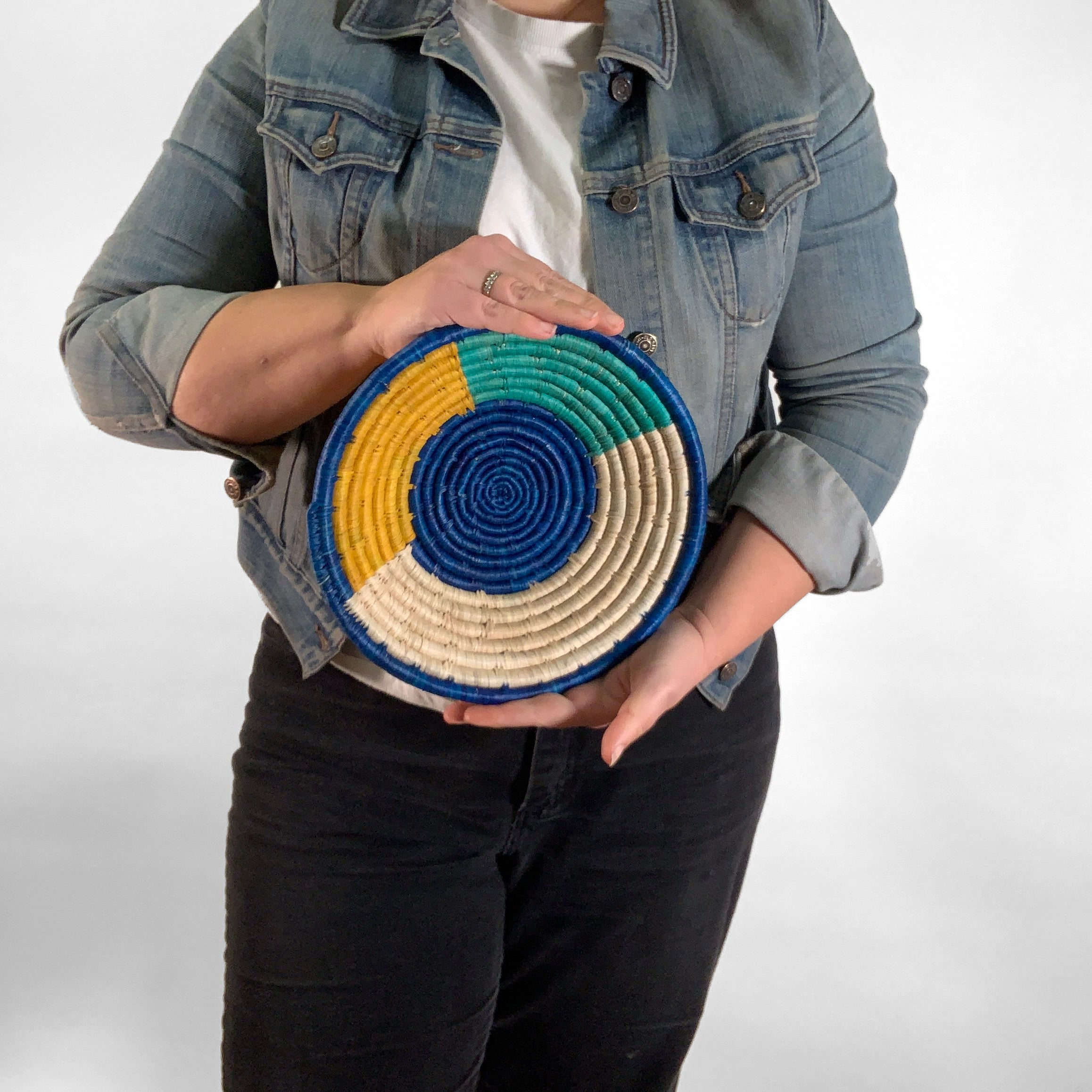 "10"" Blue, Yellow and Green Round Basket"