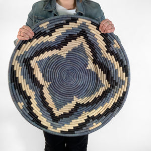 "26"" Blue and Black Round Basket"
