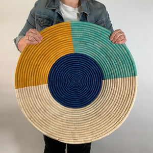 "26"" Blue, Yellow and Mint  Round Basket"