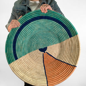 "26"" Mint and Peach Round Basket"