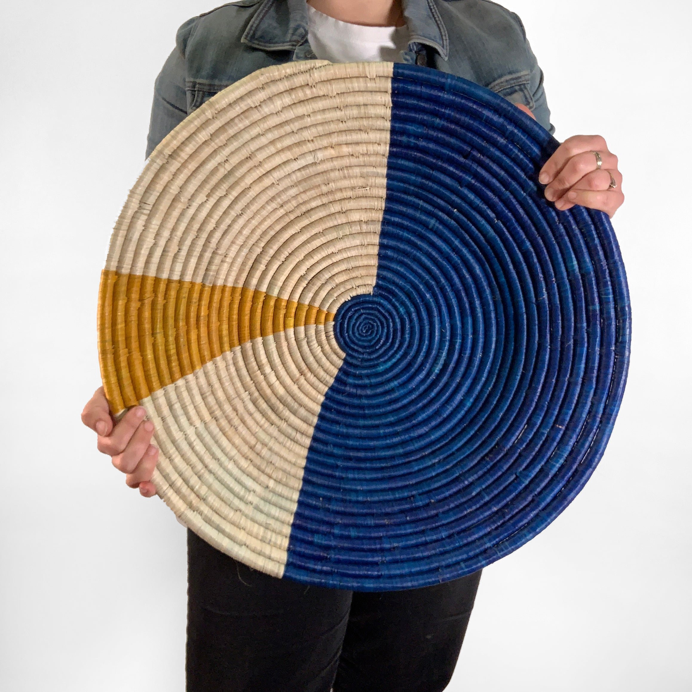 "22"" Blue, Natural and Yellow Round Basket"