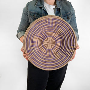 "18"" Purple and Natural Round Basket"