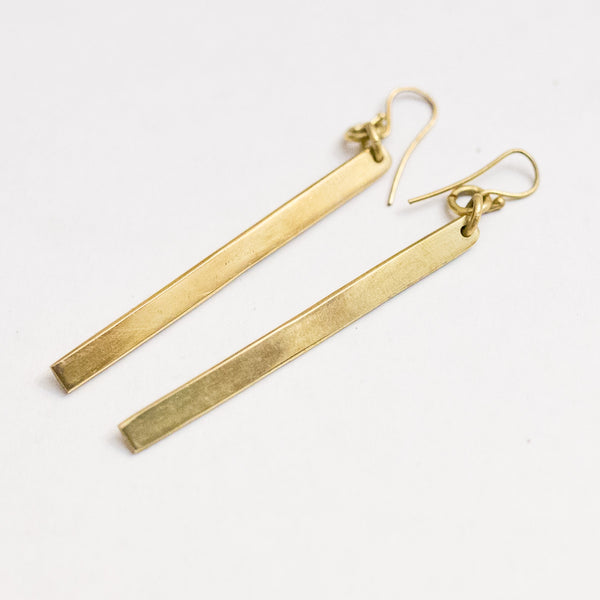 Brass Bar Earrings