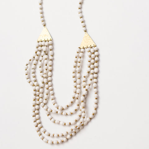 White Paper Bead and Brass Necklace