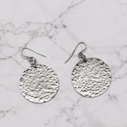 Small Hammered Silver Earrings