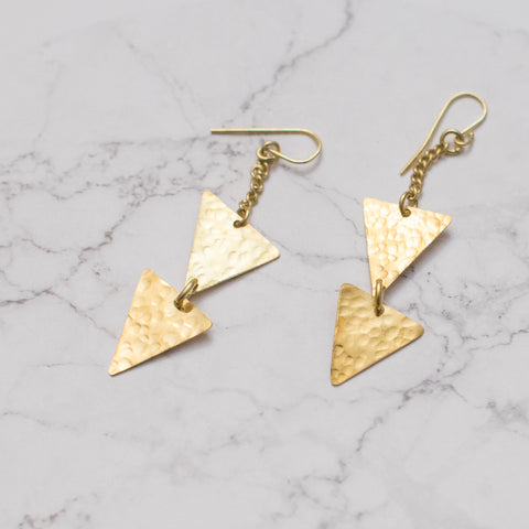 Dangling Brass Triangle Earrings