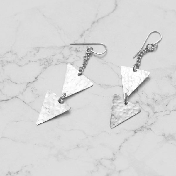 Dangling Silver Triangle Earrings