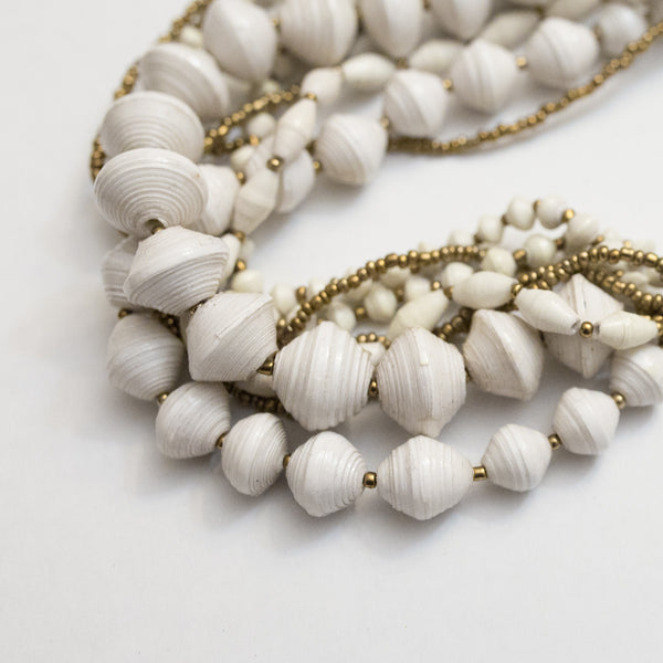 White and gold Chunky Necklace