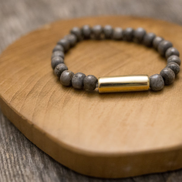 Grey Bone and Brass bracelet