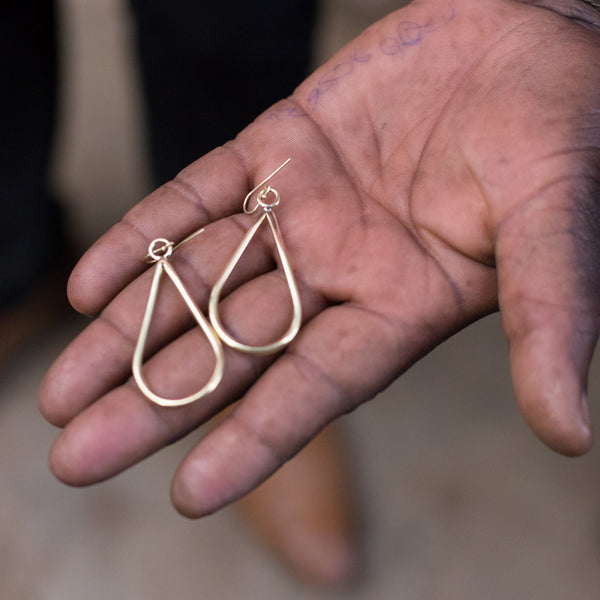 Brass Tear Drop Earrings