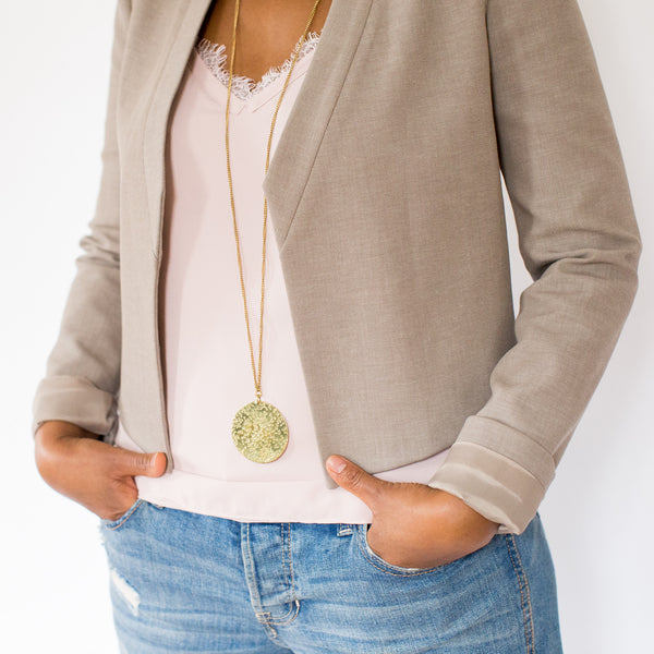 Large Hammered Brass Medallion Necklace