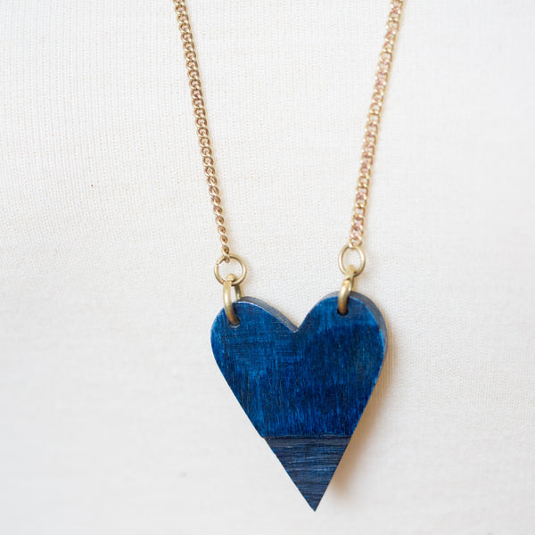 Dark Blue Heart Necklace
