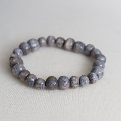 Grey Single strand Bone bracelet