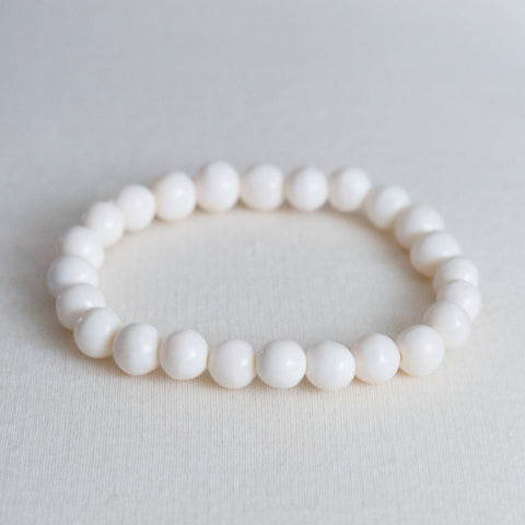 White Single strand Bone bracelet