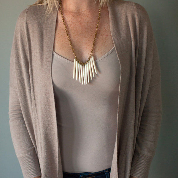 White Fringe Necklace