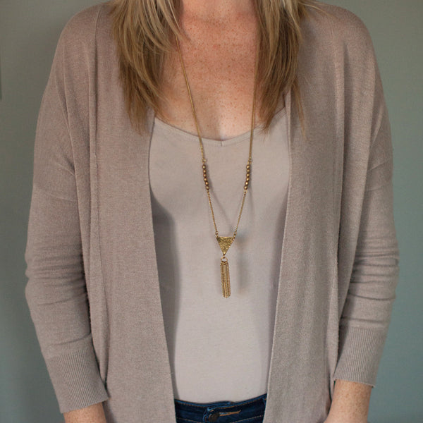 Long Triangle Tassel Brass Necklace