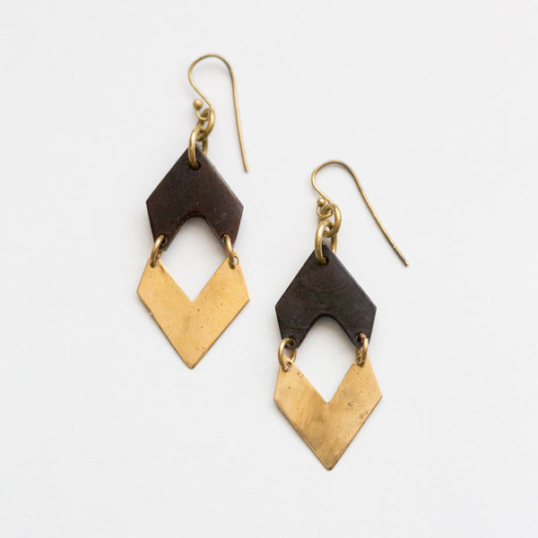 Black and Brass Chevron Earrings