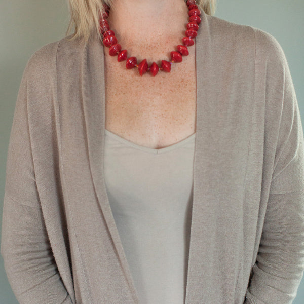 Red Paper Bead Necklace