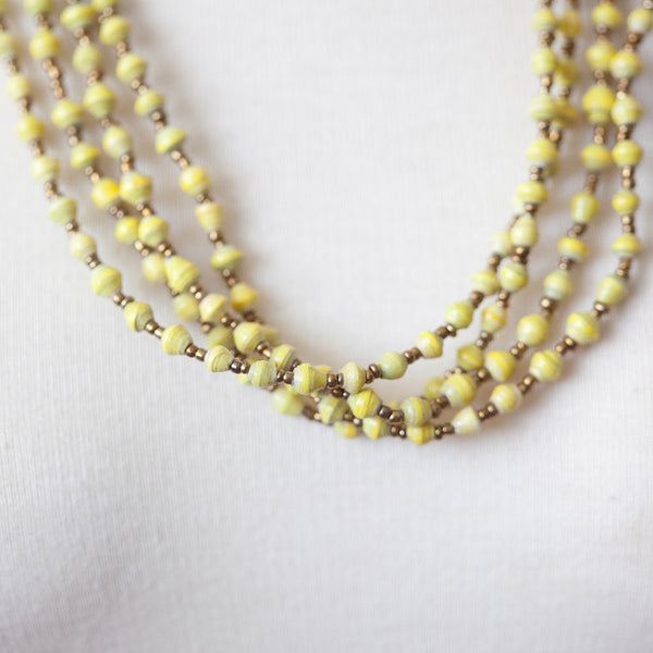 Yellow and Gold Paper Bead Necklace