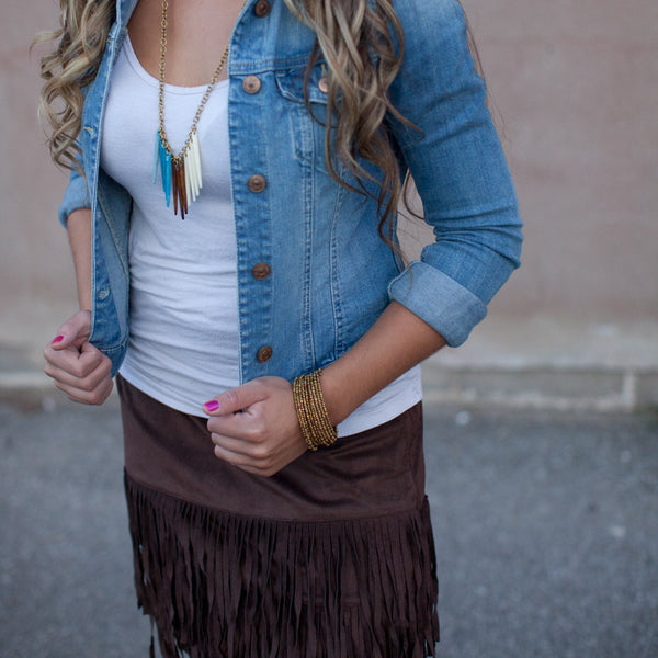 Blue, White, Brown Fringe Necklace