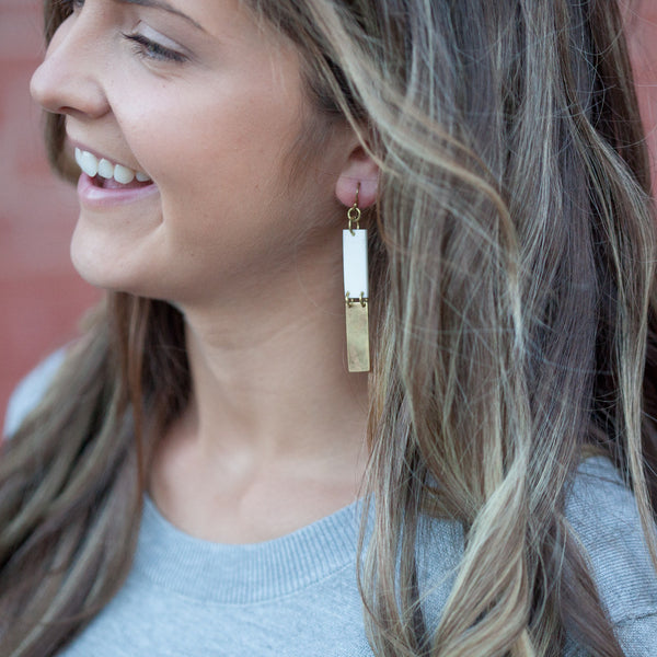 White and Brass Earrings