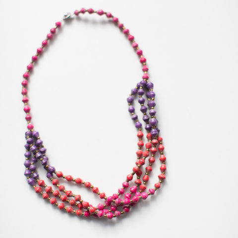 KIDS pink paper bead necklace